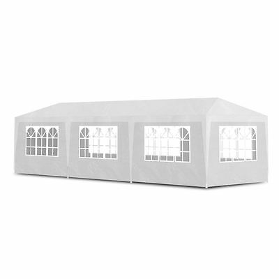 Outdoor 10'x30' White Canopy Party Tent Gazebo Pavilion Cater Events 8 Sidewalls