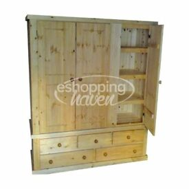 Handmade Sandra 3 Door + 5 Drawer Wardrobe With 3 Shelves Solid Pine Antique Wax (Assembled)