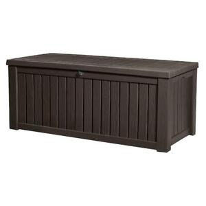 (DI16) Keter Westwood Plastic Deck Storage Container Box Outdoor Patio Garden, Brown-PICK UP ONLY!!