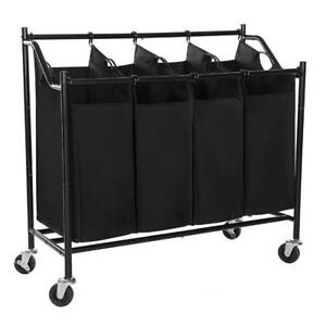 NEW SONGMICS Heavy-Duty 4-Bag Rolling Laundry Sorter Storage Cart with Wheels