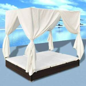 Outdoor Lounge Bed with Curtains Poly Rattan Brown DQ78F-42947