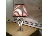 CRYSTAL GLASS TABLE LAMP WITH TAUPE SHADE