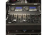 Job lot of dj mixers, cd players and flight cases