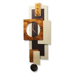 Statements2000 Metal Wall Clock Art Modern Cream Copper Accent Decor Jon Allen
