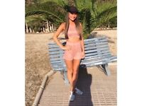 Pink suede playsuit women's