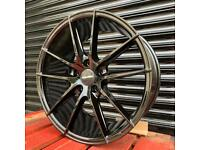 "Veemann V-FS25 Black Alloys 18"" 5x112 VW Golf Audi A3 Seat Skoda Wheels"