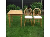Square dining table and 2 matching chairs - in beech finish - EXCELLENT CONDITION