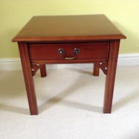 Multiyork yew chippendale lamp table with one drawer