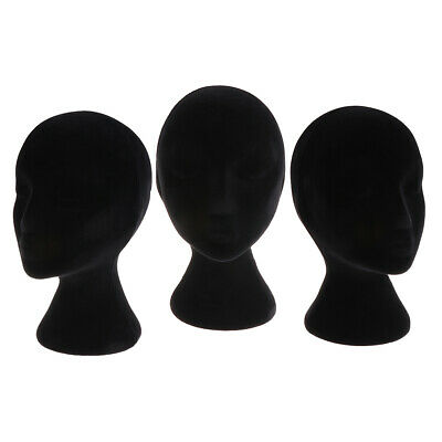 3 Pack Female Styrofoam Mannequin Manikin Head Model Wigs Glasses Display Stands