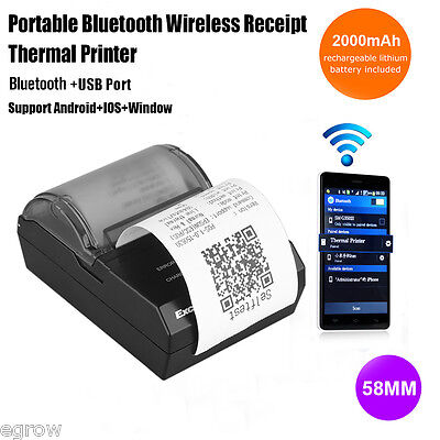Bluetooth Wireless 58mm Thermodrucker POS Drucker Bondrucker USB Belegdrucker EU