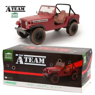 GREENLIGHT 19091 A-Team Jeep CJ-7 - Animal Preserve Diecast Model Car 1:18