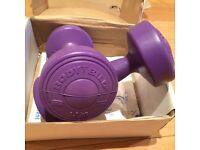 Solid Vinyl Set of Two 1.5 kg Purple Dumbbells/weights, NEW - £10