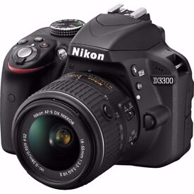 Nikon D3300 DSLR Camera w/18-55mm lens-24MP,sdcard 2x battery,remote shutter release & in carry bag