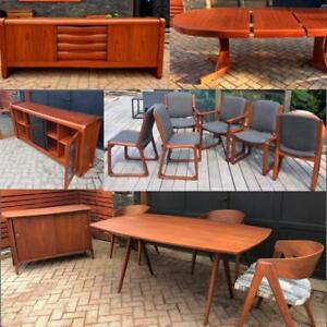 REFINISHED Danish Mid Century Modern Teak Walnut Dining Tables from $499, RUSSELL SPANNER Dining Suite REFINISHED, DESK
