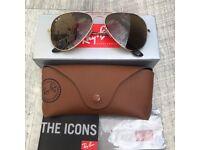 Genuine Brand New Rayban Aviator Gold/Brown 3025 Sunglasses 58mm