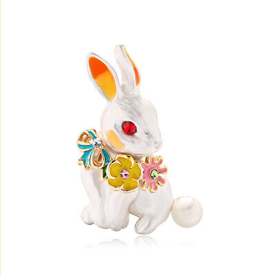 Rabbit Bunny Rhinestone Crystal Gold Plated Alloy Animal Scarf Pin and Brooch ()