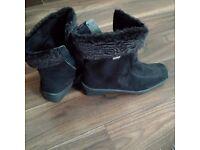 Ladies Rohde Sympatex Black Ankle Fur Water-resistant WedgeBoots Size 4.5 New