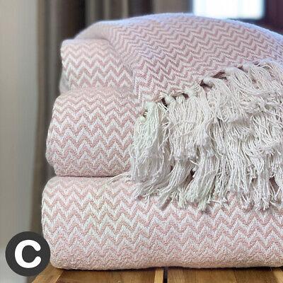 Luxury 100% Cotton Dusky Blush Pink White Herringbone Sofa Bed Throw Blanket