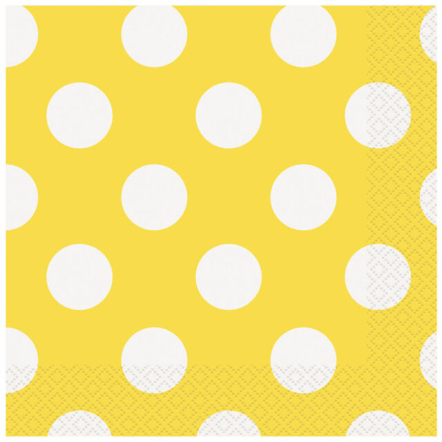Polka Dots Luncheon Napkins Yellow 16PK Party Supplies Decoartion
