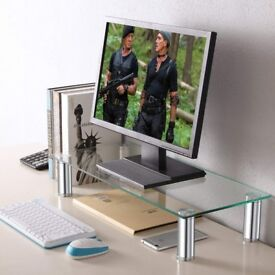 TAVR Furniture Glass Monitor Stands Screen Riser for Computers, Laptops & TVs!