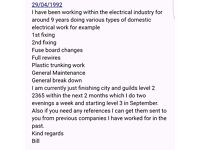 Electricians mate looking for work