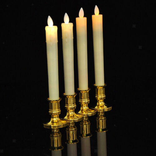 2pcs LED Taper Candles with Flickering Flame Pillar Candle W