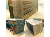 Freestanding kitchen island breakfast bar 6 drawers