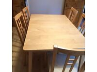 IKEA Dining room table - expands for family occasions plus 6 chairs