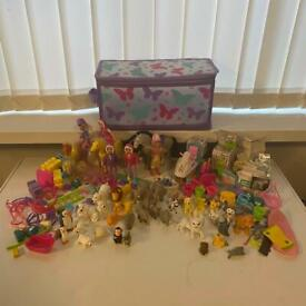 Toy dolls, horses, animals, first aid toy bundle + bag