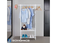 Songmics Stable Metal Clothes Rack with Storage Shelf 150 x 45 x 108 cm White
