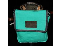 New Large Retro Canvas plus Leather Saddle Bag LIGHT GREEN for any bikes FREE SHIPPING