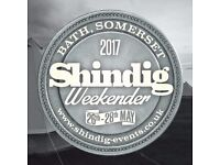 2 tickets for Shindig Weekender 26-28 May 2017