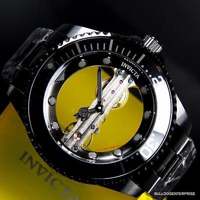 Invicta Pro Diver Ghost Bridge Mechanical Skeleton Black Steel 47mm Watch New