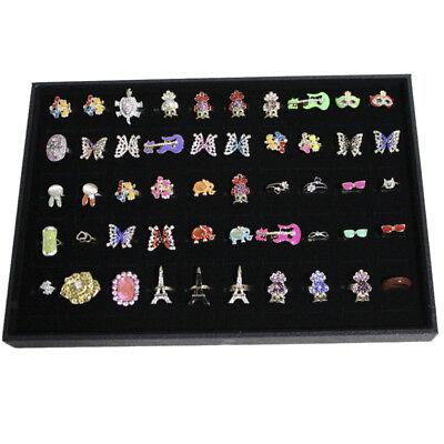100 Slot Wood Velvet Cufflink Ring Display Storage Tray Box Case Retail Gift