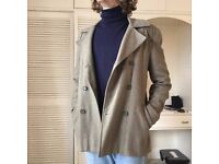 Camel Double-Breasted Peacoat Wool-Blend
