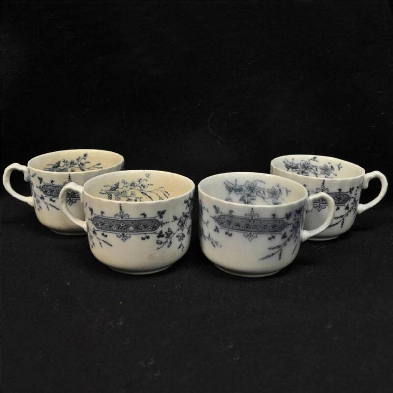 4 Vintage W H Grindley England Athena Ironstone  Flow Blue Floral Tea Cups