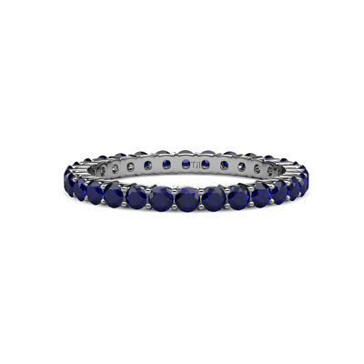 Blue Sapphire Shared Prong Eternity Ring Stackable 1.84 ctw* 14K Gold -