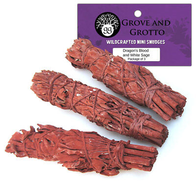 """NEW Pack of 3 Dragon's Blood and White Sage Mini Smudge Sticks 3""""+ in Bag"""