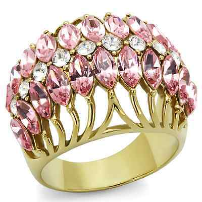 CLEARANCE-----------GOLD TONE PINK & CLEAR CRYSTAL DOME STATEMENT RING SIZE 6, 8 Tone Crystal Dome