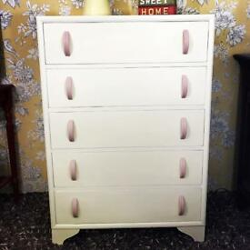 Vintage chest of drawers, tall retro style painted white bedroom / nursery