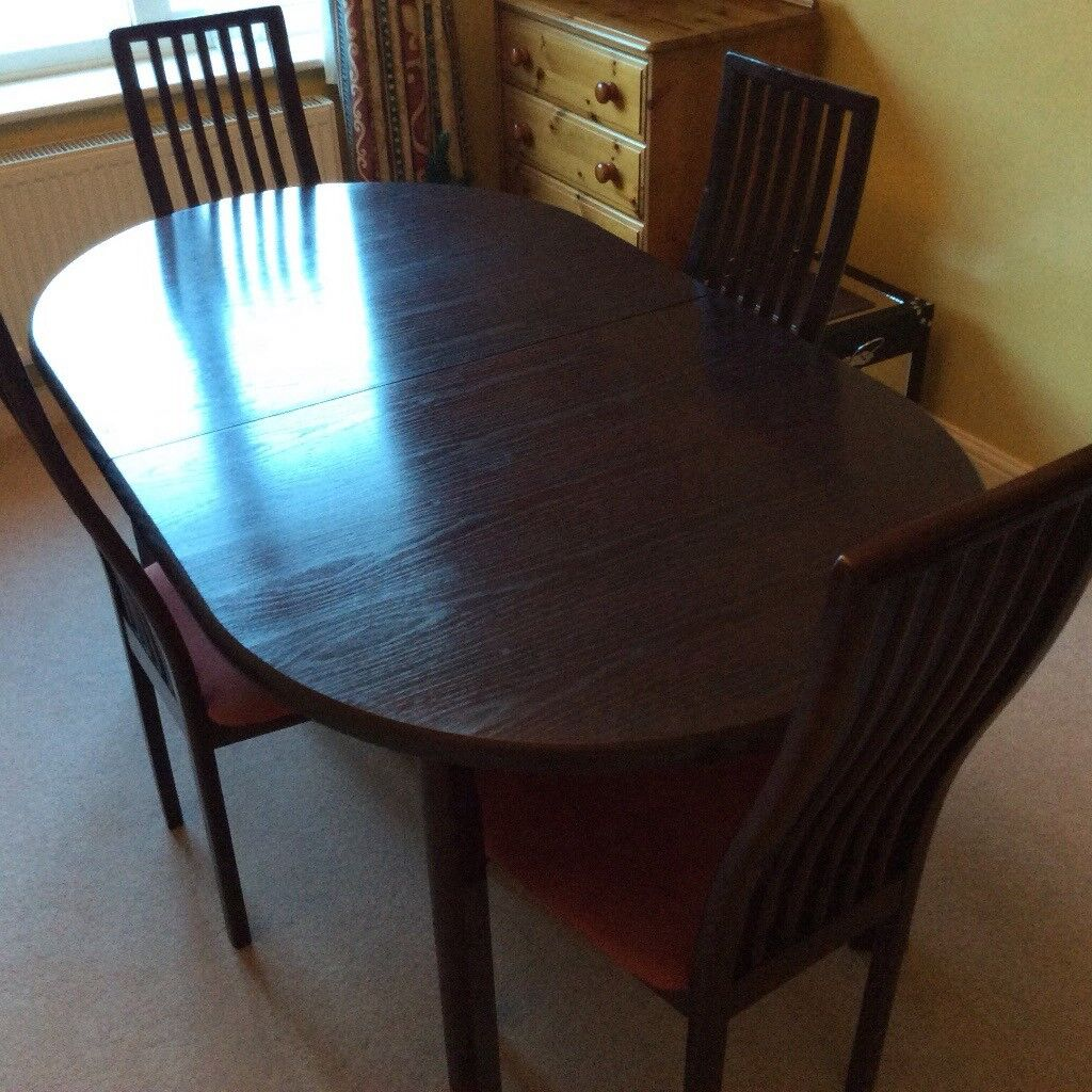 Dining Table And 4 Chairs In Solid Wood Burgundy Oak Taunton Somerset Gumtree
