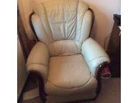 Italian leather cream chair
