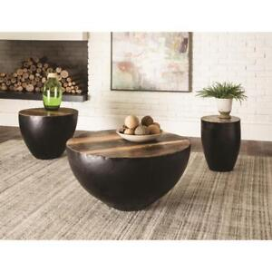 3 Piece - Black iron tapered drum/base Scott Living Occassional Table Set