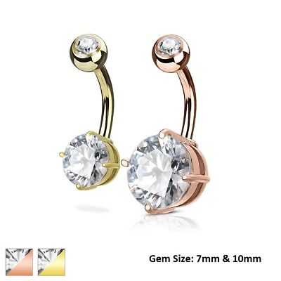 ROUND 7mm or 10mm Gem Stud Gold BELLY Button NAVEL Barbell RING Piercing -