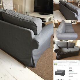 As new, IKEA EKTORP 2 seater sofa in dark grey. Removable and washable covers.