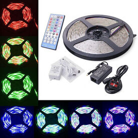 Super Bright 12V 5 Meters RGBW RGB+W Strip Light With Remote Control and Power Adapter Full Kit