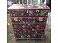 Upcycled, repainted chest of drawers