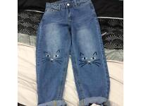 Cat knee mom jeans!