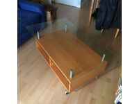 Ikea coffee table with smoked glass top