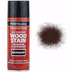 20 x 400ml All Purpose Mahogany Satin Finish Spray Paint Red/Brown Wood Stain